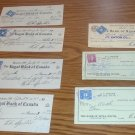 7 - 3 cent excise cancelled checks  from 1945 - 1952