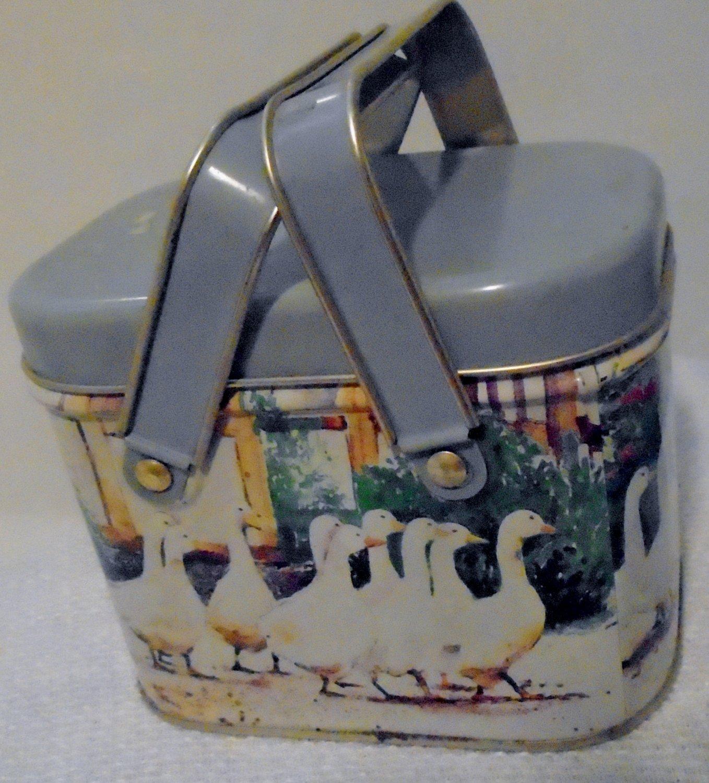 Miniature metal picnic basket circa 1950's