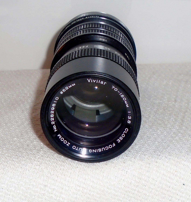 Vivitar 70 150 mm 1:3.8 Close Focusing Auto Zoom Diameter 52 mm