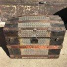 Antique Humpback Camelback Steamer Trunk Wood Pirate Treasure Chest 1800's