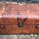 Antique Large Sole Leather Steamer Trunk Chest ca. 1800's