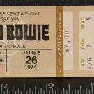 Vintage David Bowie Ticket Stub Pittsburgh June 26 1974 Syria Mosque tob