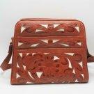 Vintage Tan Hand Tooled Hard Floral Design Leather Purse