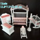 1:12 dollhouse miniature bedroom baby room set nursery room furniture set cradle crib hobby horse
