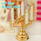 1:12 scale dollhouse miniature high quality LED light table candlestick lamp candelabra Doll house