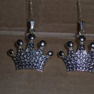 pair of Silver crown ornaments - Small
