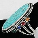 Oval Turquoise and multi crystal ring
