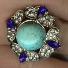 Turquoise, blue and clear crystal ring