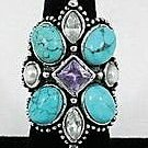 Ornate Turquoise with amethyst colored crystal Ring