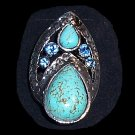 Triple teardrop Turquoise Ring