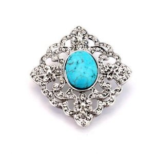 Ornate floral turquoise and silver pendant