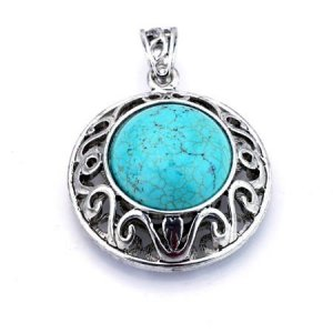 Round domed  turquoise and silver pendant