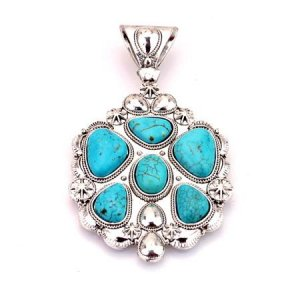 Large 6 stone  turquoise and silver pendant