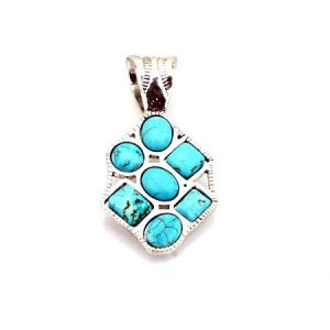 Small 7 stone  turquoise and silver pendant
