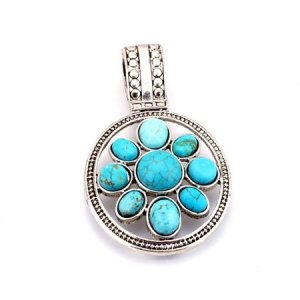 Oval multi-stone turquoise and silver pendant