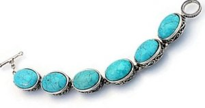 Large oval link turquoise and silver bracelet