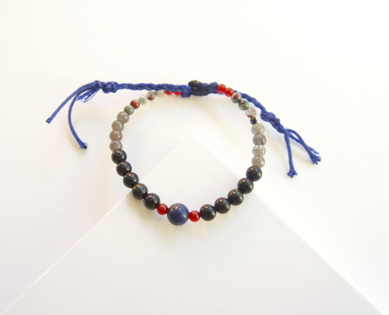 Mens Protection Slipknot Carnelian Obsidian Bracelet