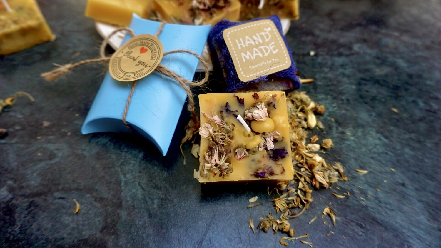 Jasmine Blue Mallow German Chamomile Pure Beeswax Candle x2