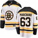 Men's Boston Bruins #63 Brad Marchand Jersey White Breakaway Hockey