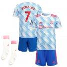 Toddler/Kids Cristiano Ronaldo Manchester United Away Soccer Kit Jersey, Shorts and Socks
