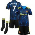 Toddler/Kids Cristiano Ronaldo MU Manchester United Third Soccer Kit Jersey, Shorts and Socks