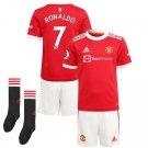 Toddler/Kids Cristiano Ronaldo MU Manchester United Red Home Soccer Kit Jersey, Shorts and Socks