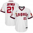Men's #21 Wally Joyner Los Angeles Angels White 1970 Throwback Jersey Retro Stitched