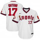 Men's #17 Shohei Ohtani Los Angeles Angels White 1970 Throwback Jersey Retro Stitched
