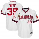 Men's #39 Mike Witt Los Angeles Angels White 1970 Throwback Jersey Retro Stitched