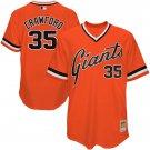 Men's #35 Brandon Crawford San Francisco Giants Orange Throwback Jersey Retro Stitched