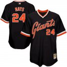 Men's #24 Willie Mays San Francisco Giants Black Throwback Jersey Retro Stitched