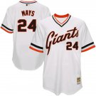 Men's #24 Willie Mays San Francisco Giants White Throwback Jersey Retro Stitched