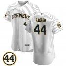 Men's #44 Hank Aaron Milwaukee Brewers White Stitched Jersey Uniforms 44 Patch Flex Base