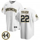 Men's #22 Christian Yelich Milwaukee Brewers White Stitched Jersey 44 Patch Cool Base