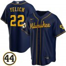 Men's #22 Christian Yelich Milwaukee Brewers Navy Stitched Jersey 44 Patch Cool Base