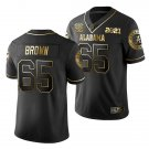 Men's #65 Deonte Brown Alabama Football National Champions Patch Black Golden Jersey Stitched