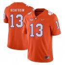 Men's #13 Hunter Renfrow Clemson Tigers College Football Orange Jersey Stitched