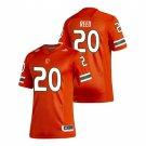 Men's #20 Ed Reed Miami Hurricanes College Football Orange Jersey Uniforms Stitched