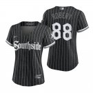 Women's #88 Luis Robert Chicago White Sox Black City Connect Southside Jersey Stitched