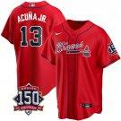 Men's Atlanta Braves #13 Ronald Acuna Jr. Los Bravos Jersey Red Stitched 150th Anniversary