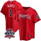 Men's Atlanta Braves #1 Ozzie Albies Los Bravos Jersey Red Stitched 150th Anniversary