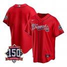 Men's Atlanta Braves Los Bravos Jersey Red Stitched 150th Anniversary Patch