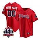 Men's Atlanta Braves Custom Los Bravos Jersey Red Stitched 150th Anniversary Patch
