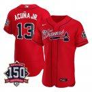Men's Atlanta Braves Ronald Acuna Jr. Los Bravos Jersey Red Flex Base Stitched 150th Anniversary