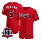 Men's Atlanta Braves Freddie Freeman Los Bravos Jersey Red Flex Base Stitched 150th Anniversary