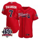Men's Atlanta Braves Dansby Swanson Los Bravos Jersey Red Flex Base Stitched 150th Anniversary