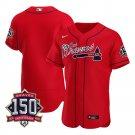 Men's Atlanta Braves Los Bravos Jersey Red Flex Base Stitched 150th Anniversary