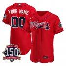 Men's Atlanta Braves Custom Los Bravos Jersey Red Flex Base Stitched 150th Anniversary