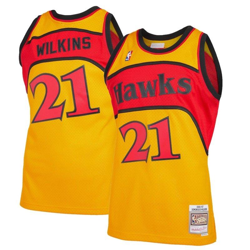 Mens #21 Dominique Wilkins Atlanta Hawks Yellow Jersey Stitched 1986-87 Hardwood Classics Reload 2.0