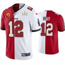 Men's Tampa Bay Buccaneers #12 Tom Brady Red White Split Two Tone Vapor Limited Jersey Stitched